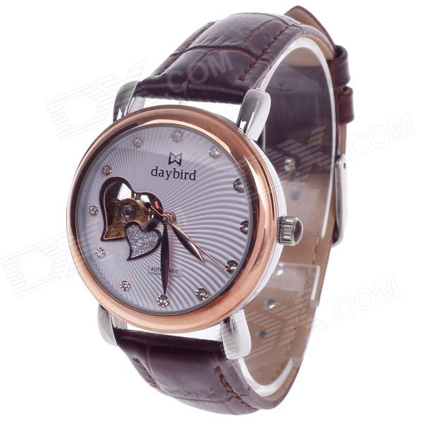 Daybird Vogue Heart-Shape Hollow out Automatic Mechanical Women's Wrist Watch - Brown + Rose Gold gucamel automatic mechanical watch hollow out design genuine leather band for men