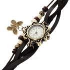 ZY-00018 Fashionable Retro Style PU leather Band Women's Quartz Analog Wrist Watch - Brown (1 x 626)