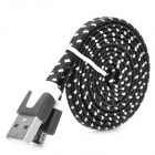 Universal Plastic USB Male to Micro USB Data Sync & Charging Flat Cable - Black + White (100cm)