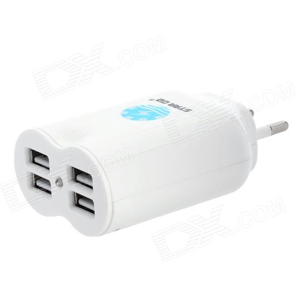 4-USB AC 110~240V EU Plug Power Adapter / Charger (4.1A) 6 usb port ac power charger adapter w us plug for iphone ipad ipod samsung tablet pc white