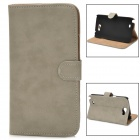 Protective Flip-open PU Leather Case w/ Holder / Card Slot for Samsung N7100 - Khaki