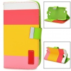 Protective Strip PU Leather Flip Case w/ Card Slots for Samsung N7100 - Deep Pink + Yellow + Pink