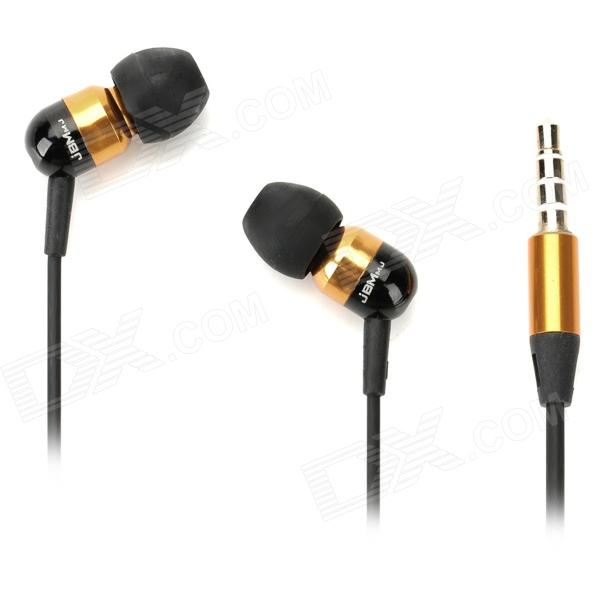 JBM A8 In-ear Earphone for Iphone / Samsung / XiaoMi / HTC + More - Golden + Black (115cm)