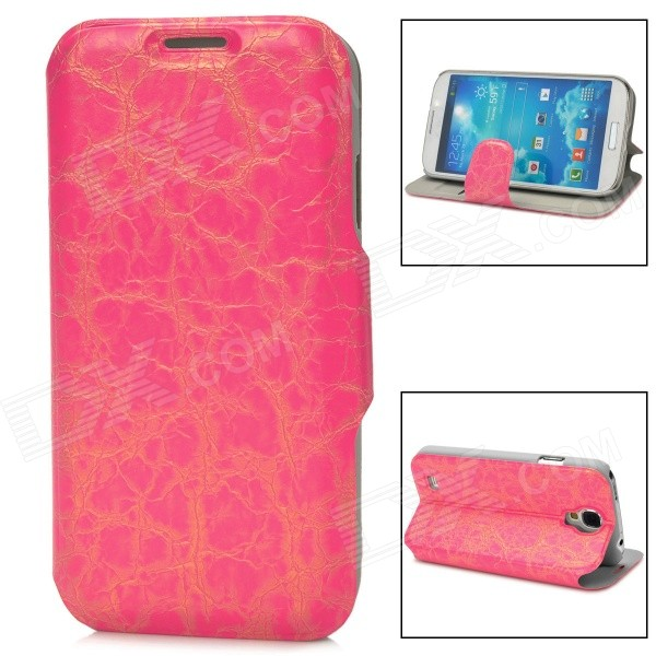 все цены на 70027  Protective Flip-open PU Leather Case w/ Card Slot / Holder for Samsung S4 - Deep Pink онлайн