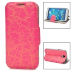 70027  Protective Flip-open PU Leather Case w/ Card Slot / Holder for Samsung S4 - Deep Pink