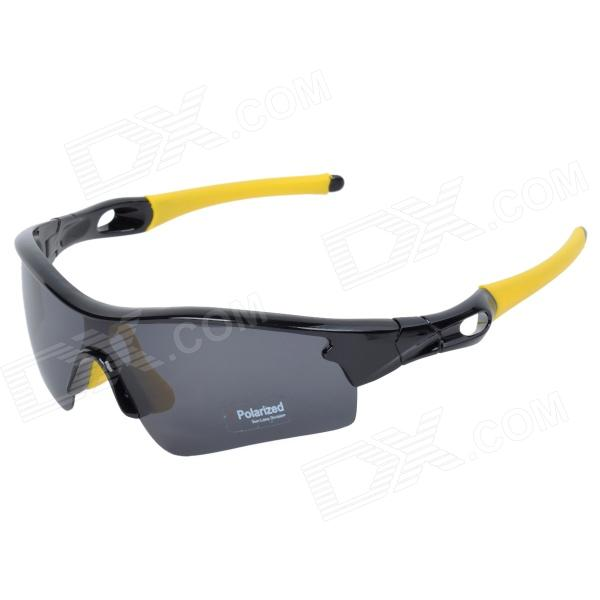 CARSHIRO 9183 Stylish Polarized UV400 Cycling Goggles - Black + Yellow carshiro 9191 men s stylish uv400 polarized goggles sunglasses black red