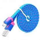 Universal Plastic USB Male to Micro USB Data Sync & Charging Flat Cable - Blue + Deep Pink (100cm)