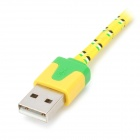 Universal Plastic USB Male to Micro USB Data Sync & Charging Flat Cable - Yellow (100cm)