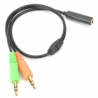 3.5mm 1 to 2 Female to Male Extension Audio Cable - Red + Black + Green (28cm)