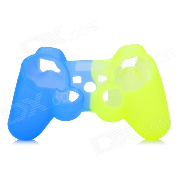 Protective Silicone Case for PS3 Controller - Yellow + Blue glow in the dark protective silicone case for ps3 ps3 slim controller blue
