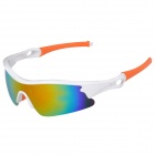 CARSHIRO 9183 Stylish Polarized UV400 Cycling Goggles - White + Orange