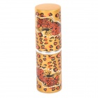 Fashionable Leopard Pattern Aluminum Casing Retractable Makeup Nylon Brush - Red + Golden + Black