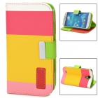 Protective Strip PU Leather Flip Case w/ Card Slots for Samsung i9500 - Deep Pink + Yellow + Pink