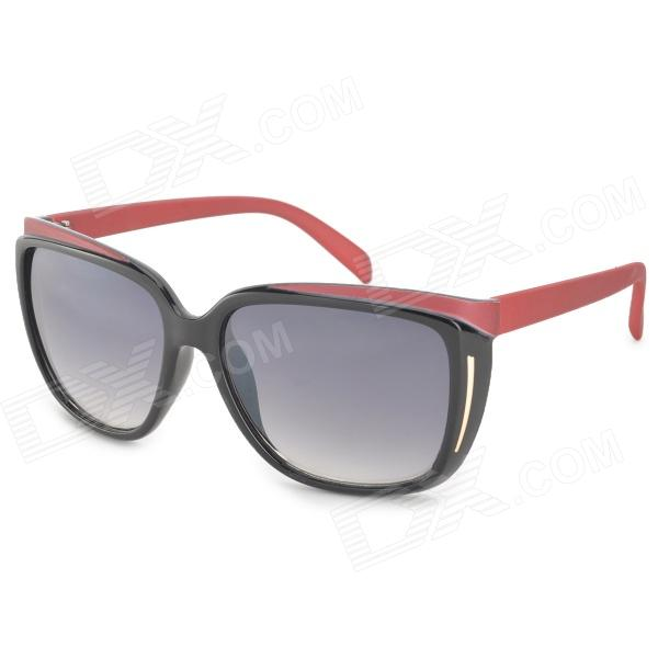 OREKA DY782 Fashion Grey Resin Lens UV400 Protection Sunglasses for Women - Black + Red fashion uv400 protection round shape resin lens sunglasses wine red
