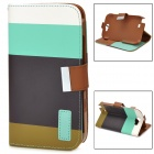 Protective Strip PU Leather Flip Case w/ Card Slots for Samsung N7100 - Blue + Black + Brown