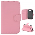 Protective Flip-open PU Leather Case w/ Holder / Card Slots for Samsung Galaxy Express i8730 - Pink