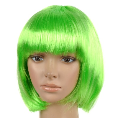 Fashionable Straight Kanekalon Silk BOBO Wig for Cosplay / Party - Green