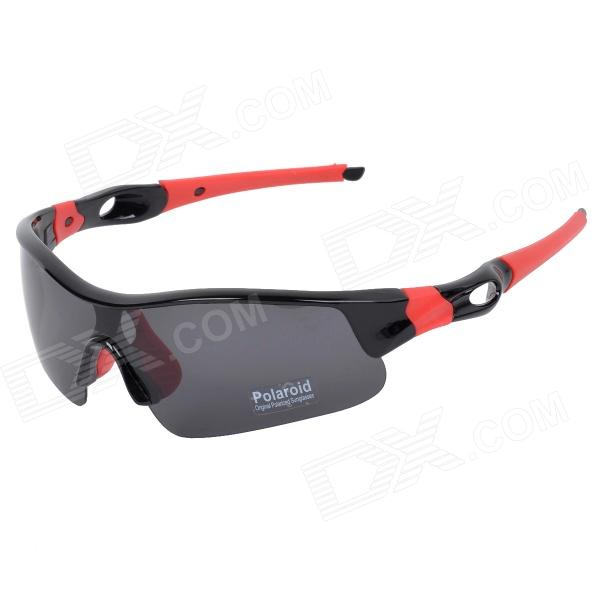 CARSHIRO 6103 Stylish Polarized UV400 Sunglasses Goggles for Cycling - Black + Red carshiro 9191 men s stylish uv400 polarized goggles sunglasses black red