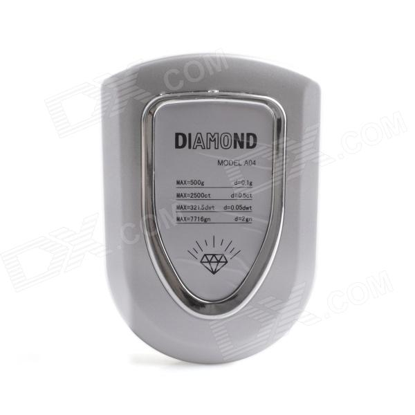 "DZC-01 1.2"" LCD Jewelry Electronic Scale - Silver (0.1g / 500g / 2 x AAA)"