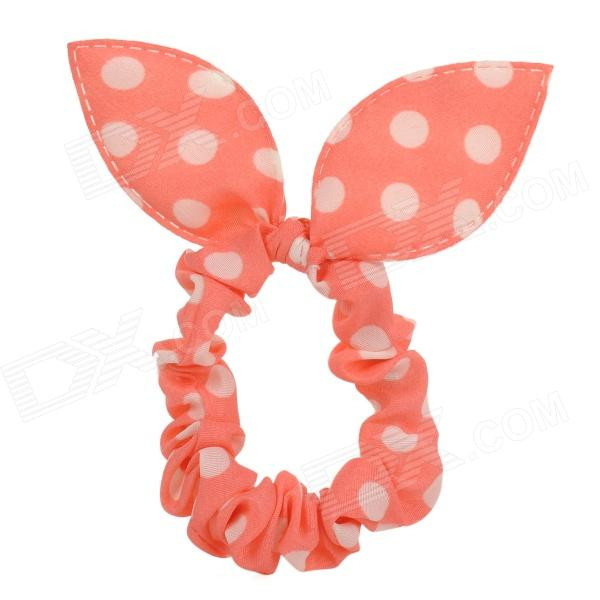 Cute Polka Dolt Pattern Rabbit Ear Style Hair Band Strap - Orange + White