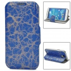 70030  Protective Flip-open PU Leather Case w/ Card Slot / Holder for Samsung S4 - Blue