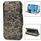 70026 Protective Flip-open PU Leather Case w/ Card Slot / Holder for Samsung S4 - Black + Golden