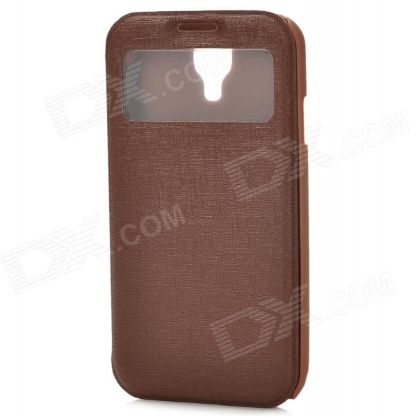70016 Protective PU Case w/ Display Window / Card Slot for Samsung S4 - Brown