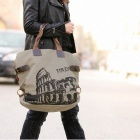 K-916 Stylish Women's Canvas Handbag Single Shoulder Bag - Brown