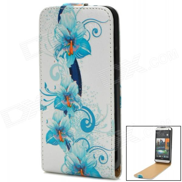 Flower Pattern Protective PU Leather Case for HTC One M7 - Blue + White htc u ultra sapphire blue 64gb