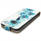 Pattern Protective Case Flower PU de couro para HTC One M7 - Azul + Branco