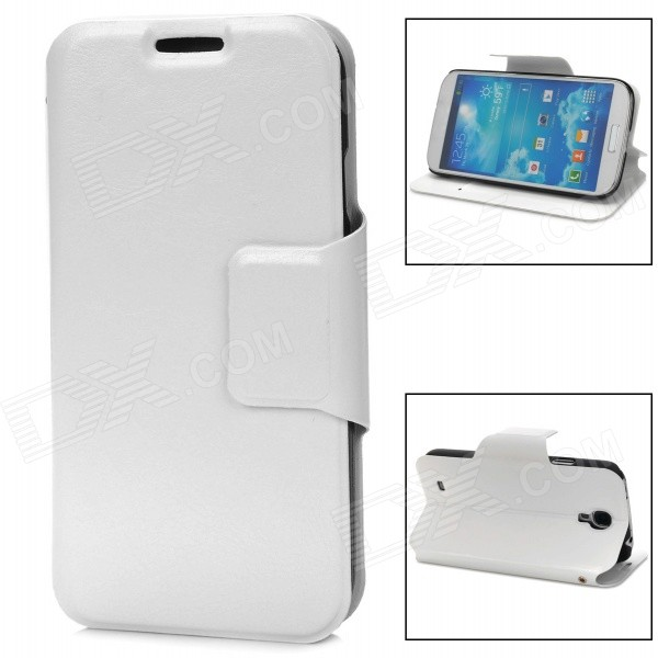 Protective PU Leather Case for Samsung Galaxy S4 i9500 - White protective flip open pu leather case for samsung galaxy s4 i9500 white