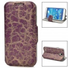 Protective PU Leather Holder Case for Samsung Galaxy S4 - Purple + Golden