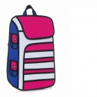 3D12 Two Dimensional Cartoons Package 3D Bag Backpack - Red + Blue + White