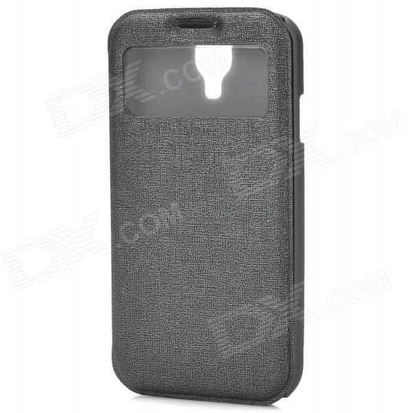 Protective PU Leather Case w/ Card Slot for Samsung Galaxy S4 - Grey protective pu leather case w card slot for samsung galaxy s4 grey
