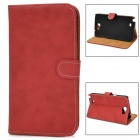 Protective PU Leather Flip-open Case for Samsung N7100 - Red