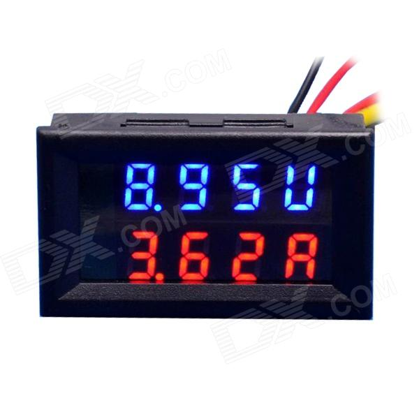 "0.28"" LED 4-Digital Dual-Display DC Ammeter Voltmeter (0~100V / 10A)"