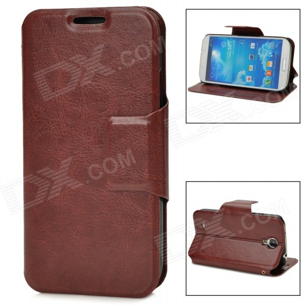 все цены на  Protective PU Leather Case for Samsung Galaxy S4 i9500 - Brown  онлайн