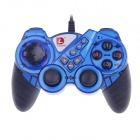 DILONG PU303 USB Wired PC Game Pad Shocks Joystick - Black + Blue (168cm-Cable)