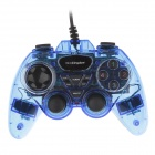 Microkingdom 870S Wired Dual Vibration USB Game Joystick Controller for PC - Blue + Black