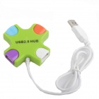 AYA-038 Cross Style High Speed 4-Port USB 2.0 Hub - Green + White (100cm-Cable)