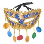 G-3321 Fashionable Plastic + Cloth Mask for Halloween / Costume Party - Golden + Blue