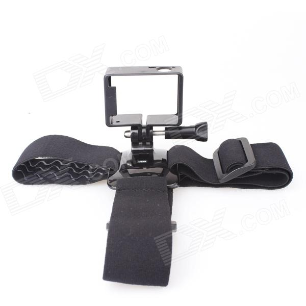 Three-Glue Head Strap + Side Frame Set Accessories for Gopro 3 - Black