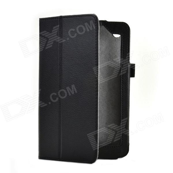 Lichee Pattern 2-Folding Protective PU Leather Case Cover Stand for Lenovo A3000 - Black