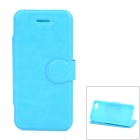 Protective PU Leather + TPU Flip Stand Case for Iphone 5C - Light Blue