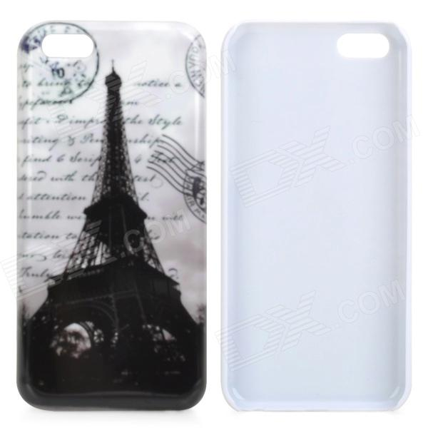Eiffel Tower Protective Plastic Back Case for Iphone 5C - White + Black stylish protective pu leather case for iphone 5c white transparent black