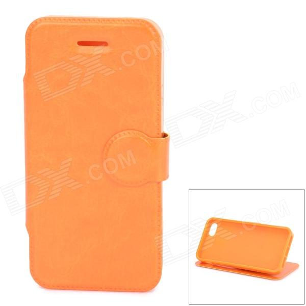 Protective PU Leather + TPU Flip Stand Case for Iphone 5C - Orange touchable flip tpu soft protective case for iphone 7 4 7 inch grey