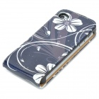 Flower Pattern Stylish Up-Down Flip-Open PU Leather Case for Iphone 4 / 4S - Black