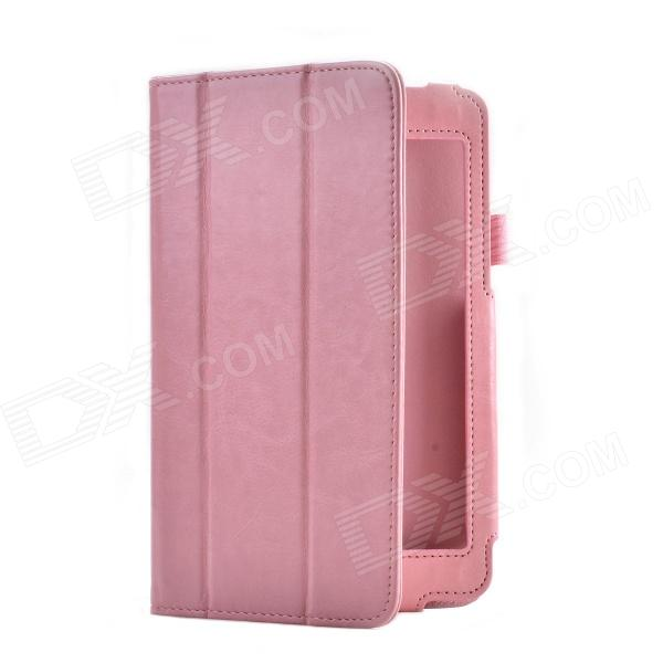 Crazy Horse Pattern 2-Folding PU Leather Case Cover Stand for Asus HD7 ME173X - Pink
