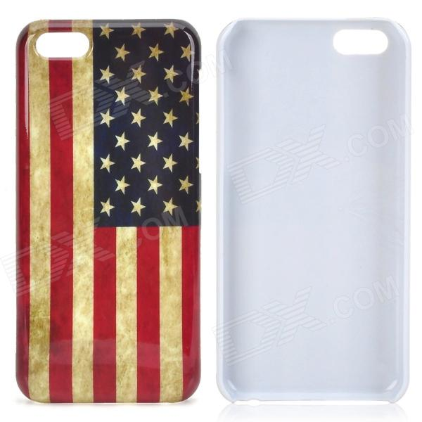 Retro US National Flag Pattern Plastic Back Case for Iphone 5C - Multicolored цена и фото