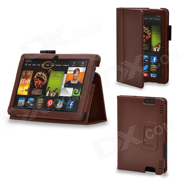 Protective PU Leather Case Cover Stand for Kindle Fire HDX 7 inch - Brown protective pu leather case for kindle fire 7 deep red